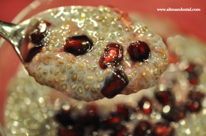 chia pudding on spoon