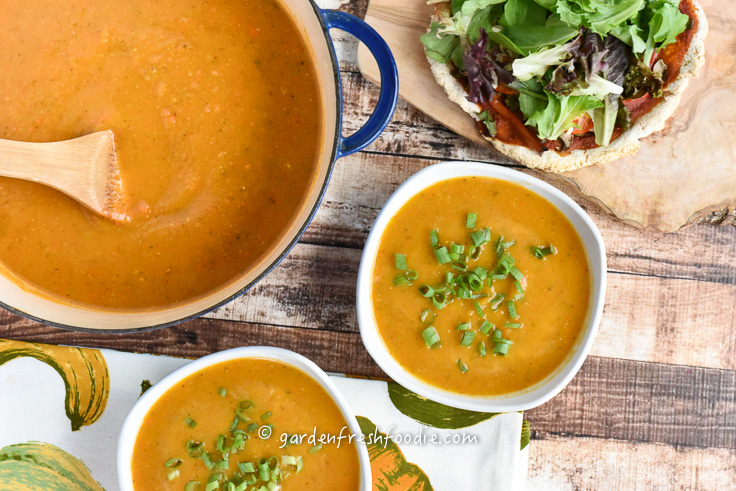 Pot of Butternut Squash Soup and Pizza