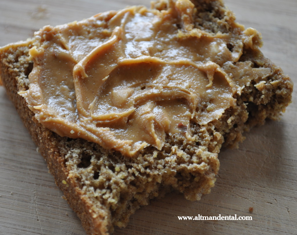 whole grain gluten free maple bread with peanut butter