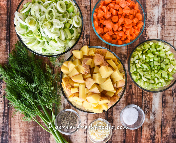 Oil Free Potato Leek Soup Mise En Place
