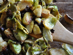 Roasted Balsamic Brussels Sprouts On Spoon