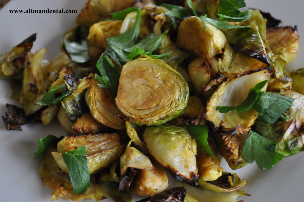 Roasted Balsamic Brussels Sprouts Plated Close