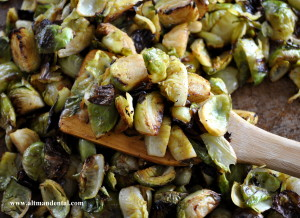 Roasting Pan of Balsamic Brussels Sprouts