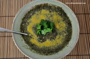Vegan cauliflower and greens soup with nutritional yeast