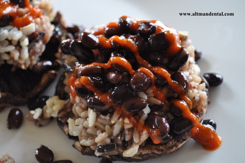 Balsamic Roasted Portobello Mushroom with Rice and Beans top