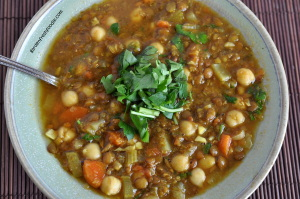 Bowl of Vegan Moroccan Lentil and Chickpea Soup