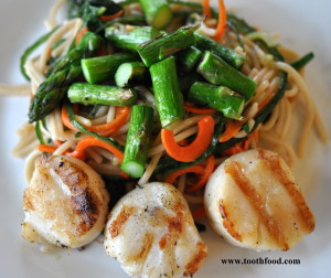 Asian Noodle Salad and Grilled Scallops