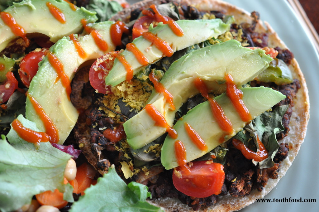 Vegan Mexican Pizzas Topped With Nutritional Yeast and Siracha