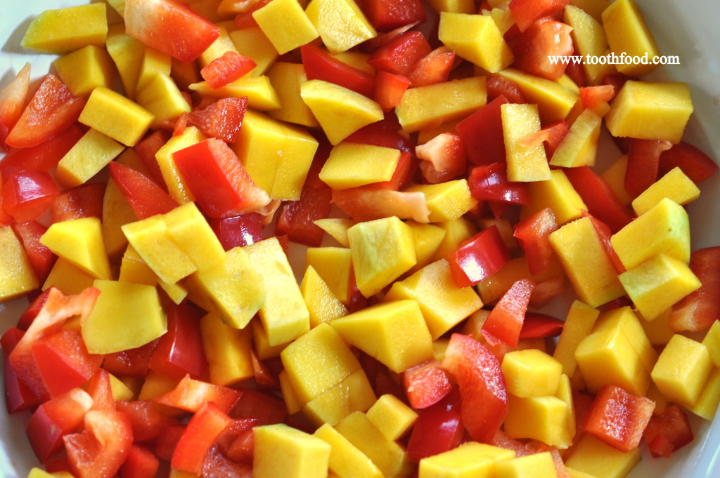 mangoes and red peppers