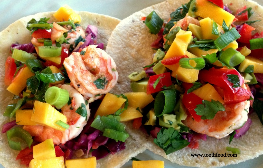 shrimp tacos with red cabbage slaw