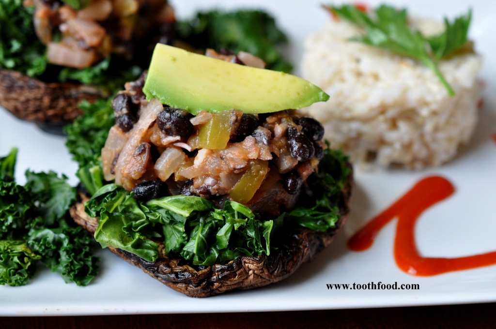 Portobello Mushrooms Topped With Limey Black Beans