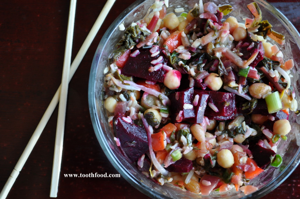 Miso Ginger Rice Bowl With Beets, Chick Peas, and Greens