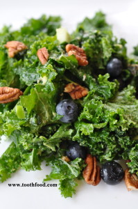 Creamy Kale Salad With Blueberries and Pecans
