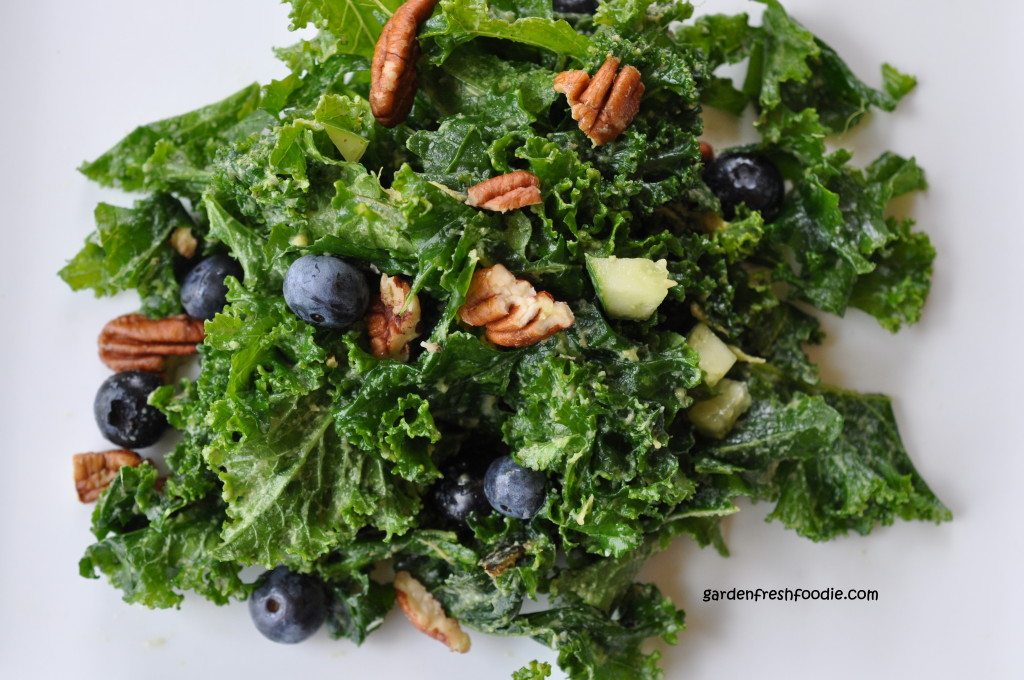 Plated Creamy Kale Salad With Blueberries and Pecans