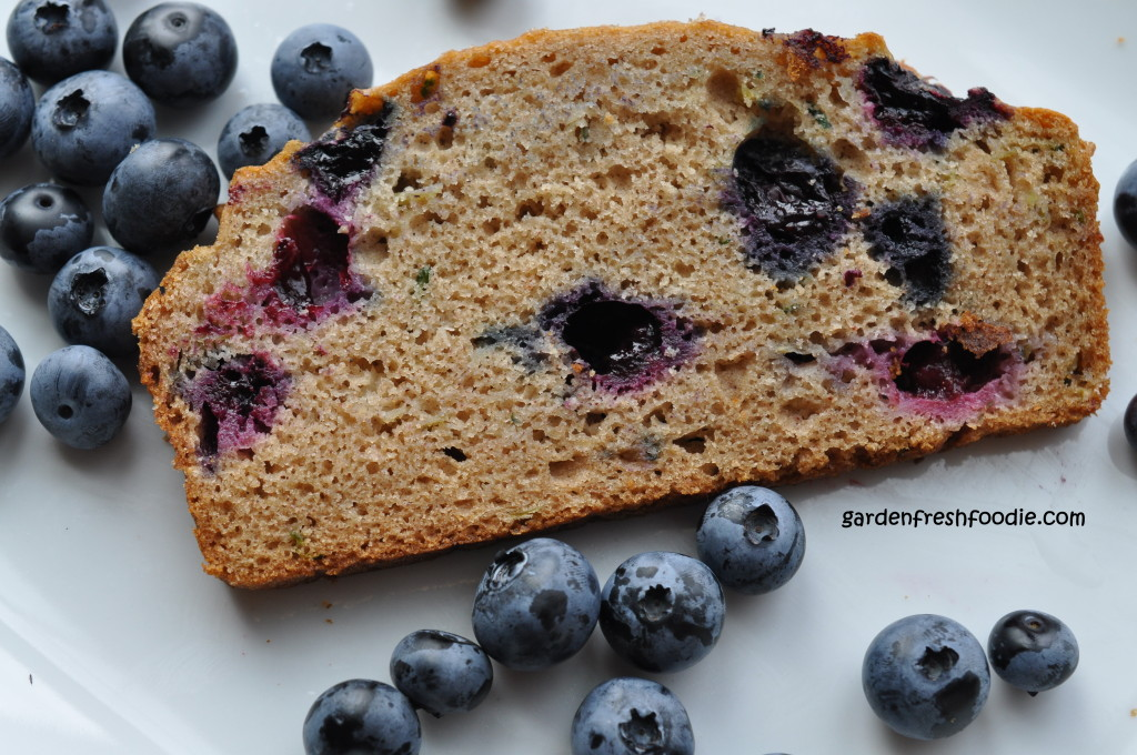 Slice of Blueberry Zucchini Bread With Blueberries