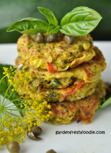 Stack of Vegan Zucchini Patties With Fresh Herbs and Capers