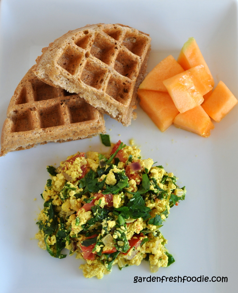 Italian Tofu Scramble Breakfast Served With Coconut Waffles
