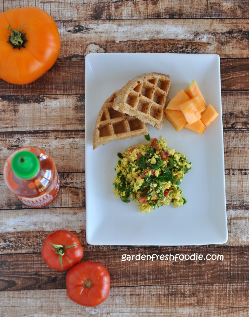 Italian Tofu Scramble With Coconut Waffles