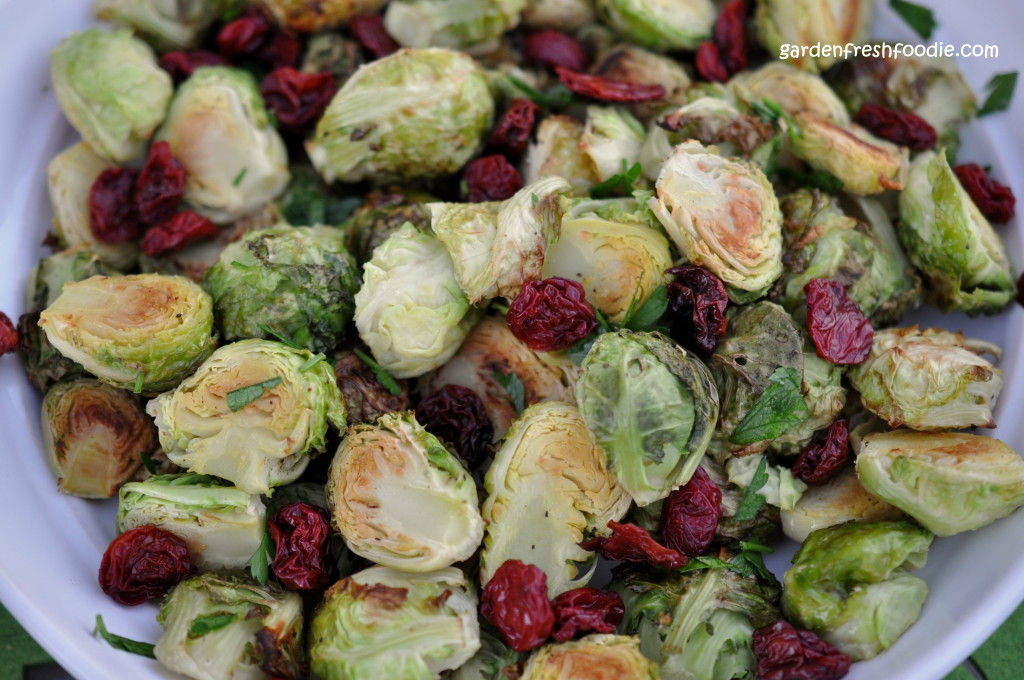 Lemon Roasted Brussel Sprouts With Dried Tart Cherries