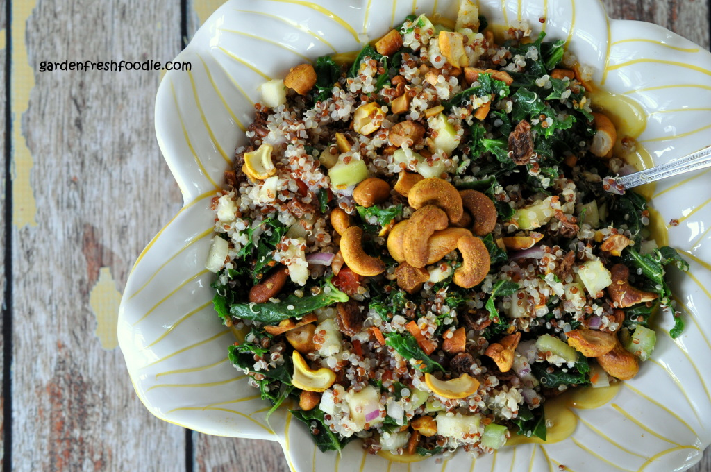 Quinoa Confetti Salad Topped With Curried Cashews