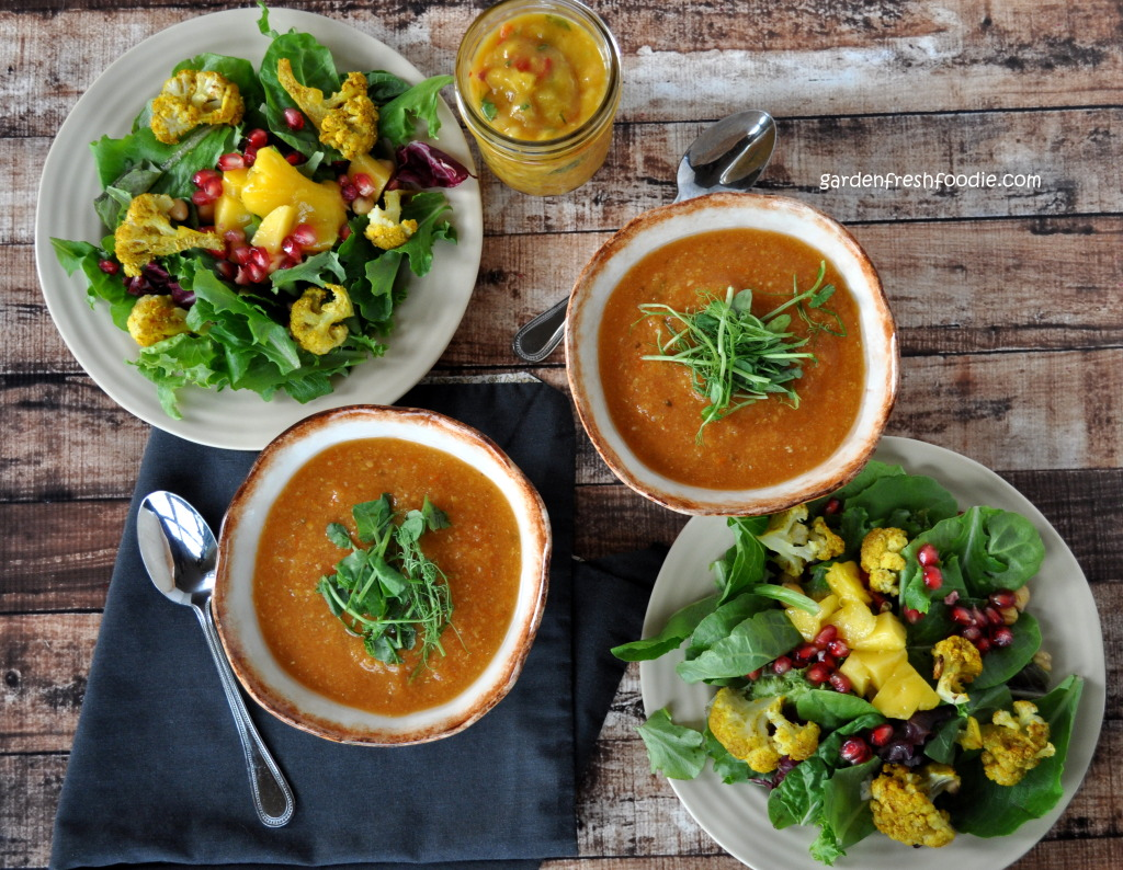 Indian Lunch of Red Lentil Curry Soup, Mango Chutney, and Salad with Roasted Curried Cauliflower