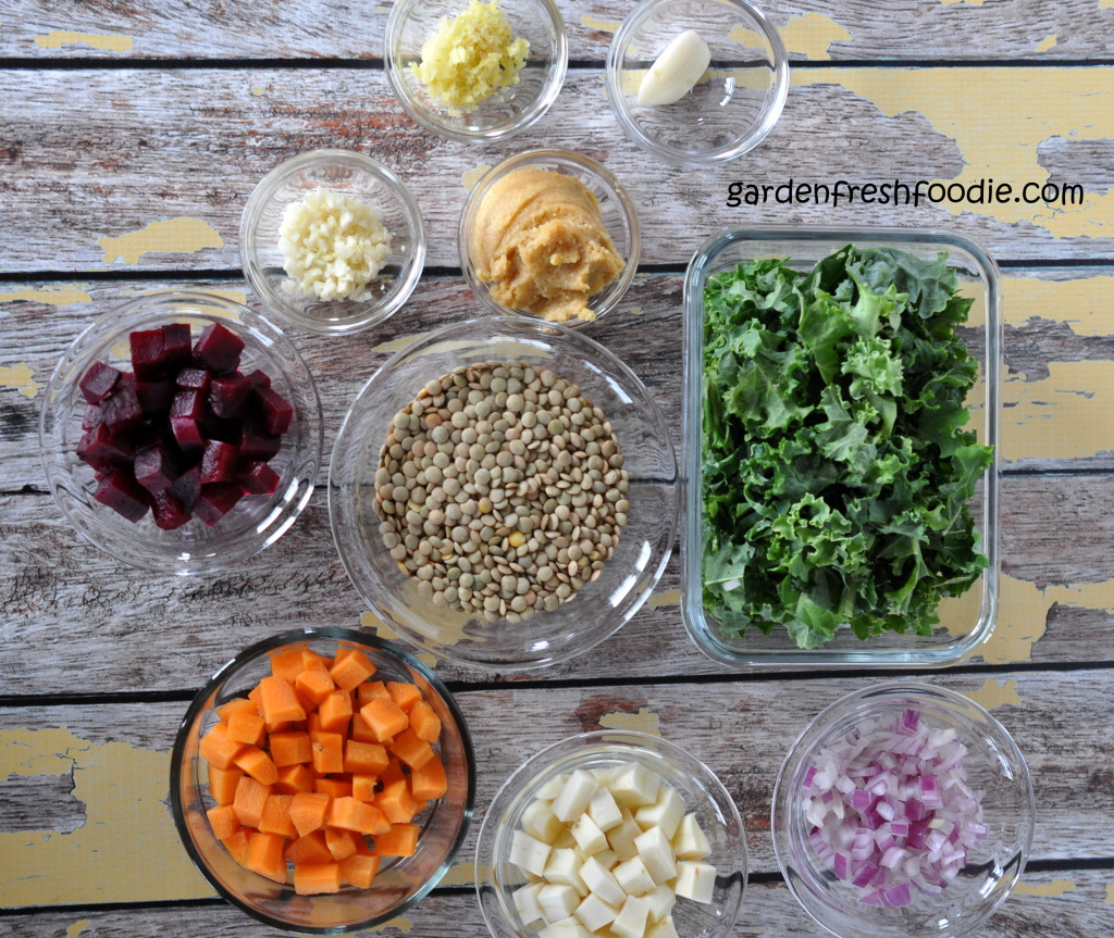 Miso Lentil Salad With Roasted Root Veggies Mise En Place