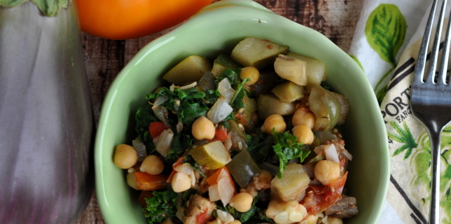 Ratatouille With Eggplant,Tomatoes, Chickpeas, and Kale