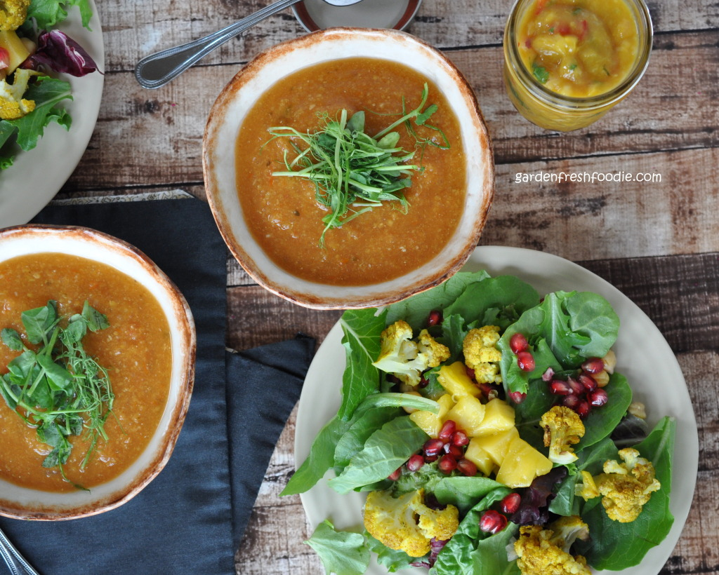 Red Lentil Curry Soup, Salad, and Mango Chutney