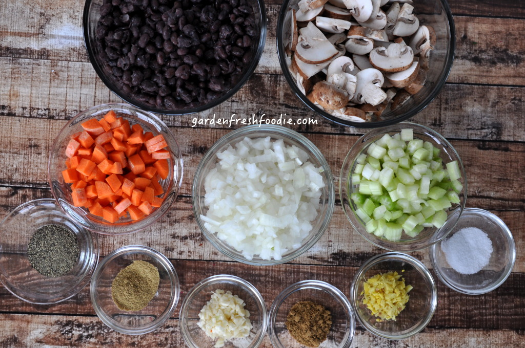 Mise En Place for Creamy Mushroom Black Bean Soup