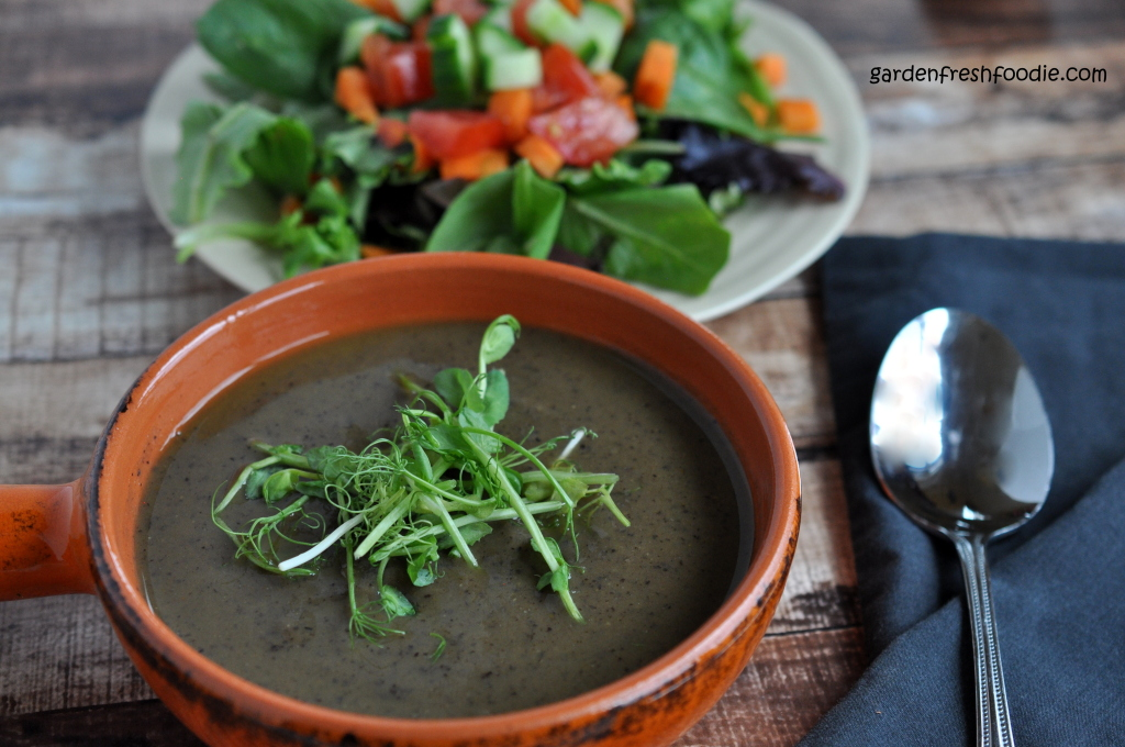 Creamy Mushroom Black Bean Soup and Salad