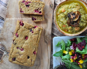 Pumpkin Cranberry Loaf With Split Pea Soup and Salad