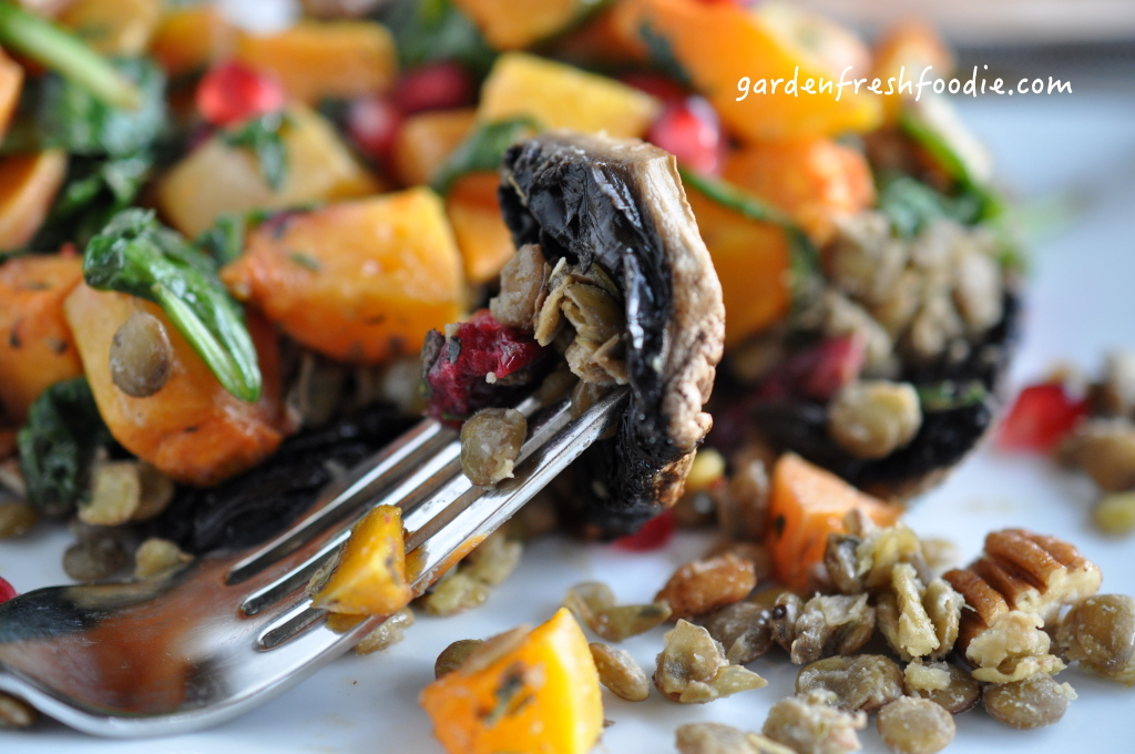 Roasted Balsamic Portobello Mushrooms Topped With Lentils and Roasted Butternut Squash