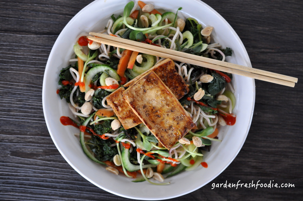 Tropical Tofu on Asian Noodle Bowl With Siracha and Peanuts