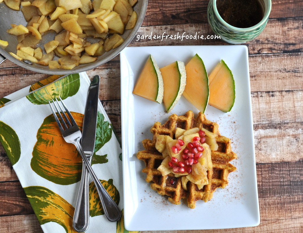 Vegan Pumpkin Waffles With Apple Topping