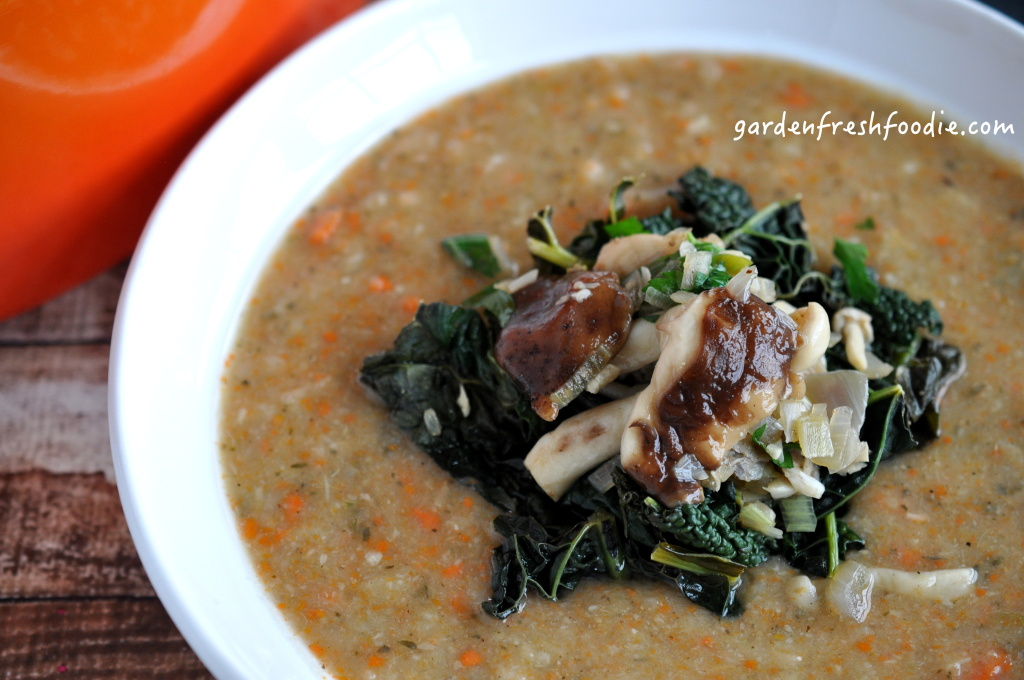 Creamy White Bean Soup With Garlicky Mushrooms and Kale