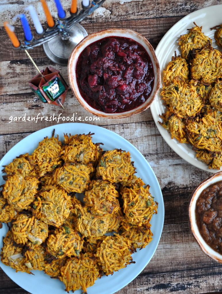 Indian Spiced Sweet Potato Latkes With Cranberry and Dried Cherry Sauce