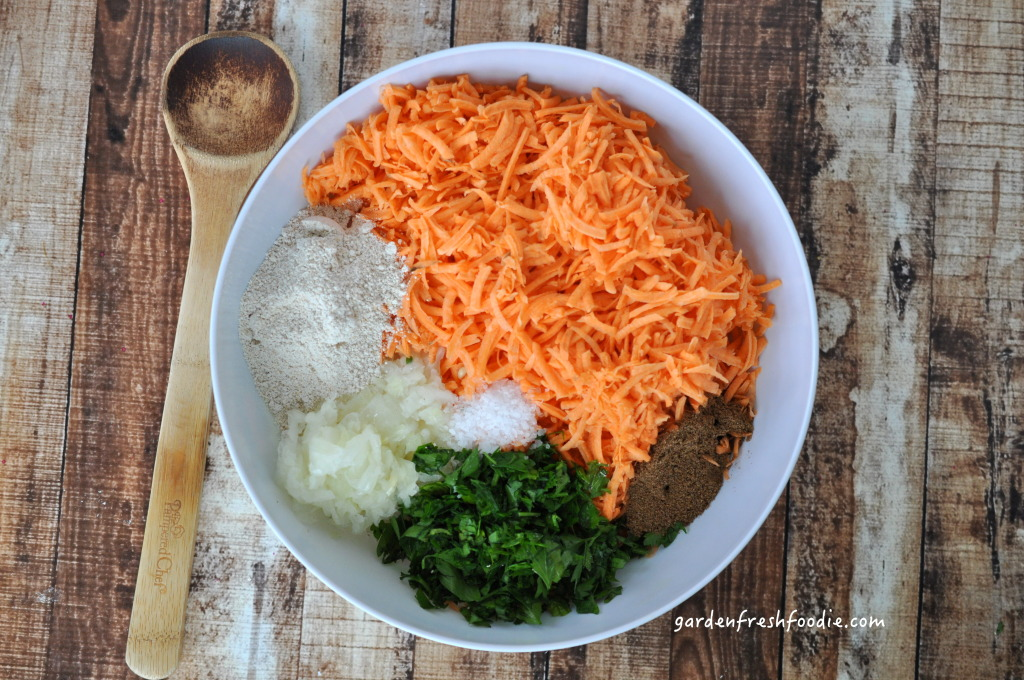 Mixing Indian Spiced Sweet Potato Latkes