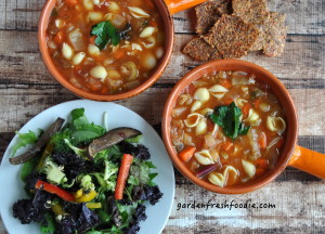 Vegan Pasta Fagioli With Sweet Pepper Crackers