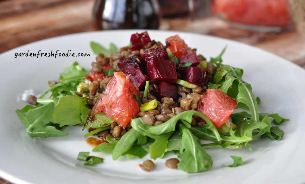 Plate of Winter Lentil Salad With Oil Free Balsamic Vinaigrette