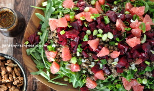 Platter of Winter Lentil Salad With Oil Free Balsamic Vinaigrette With Maple Walnuts