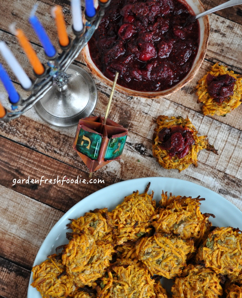 Sweet Potato Pancaked With Dried Cherry Cranberry Sauce