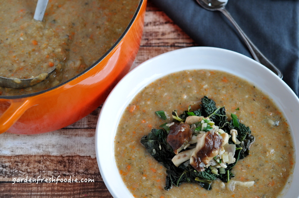 Creamy White Bean & Sage Soup Topped With Garlicky Mushrooms and Kale
