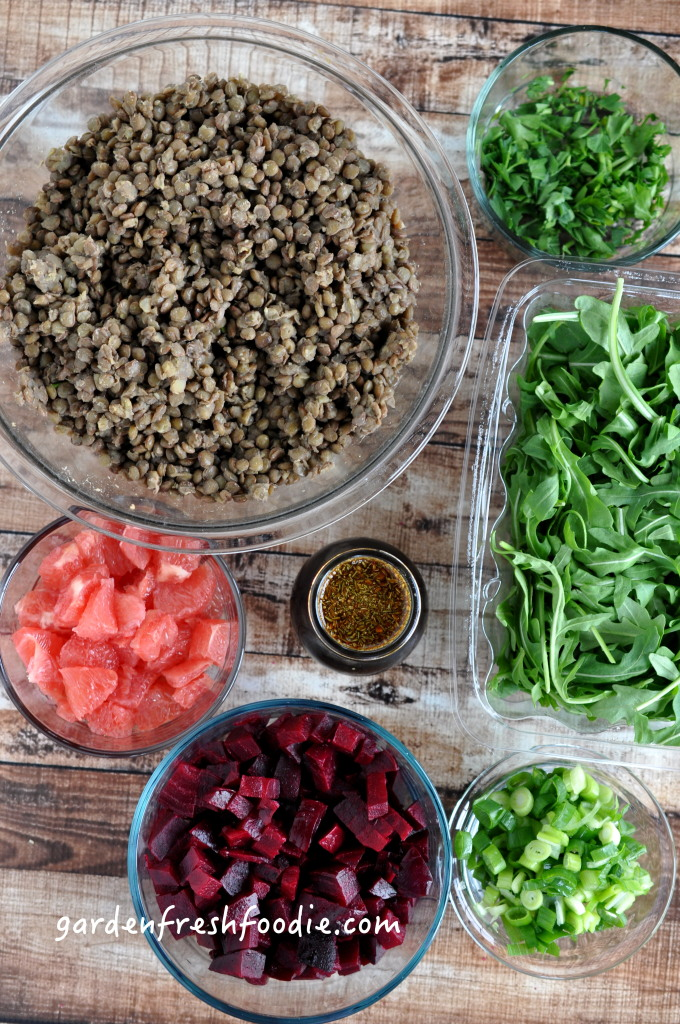 Winter Lentil Salad With Oil Free Balsamic Vinaigrette Mise En Place