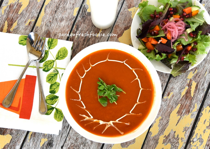 Creamy Moroccan Carrot Soup With Cashew Sour Cream and Salad