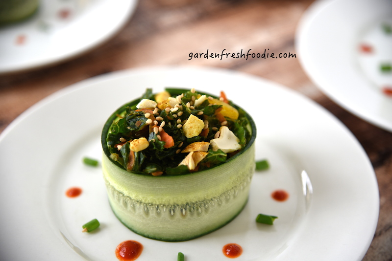 Close Up of Moroccan Kale Salad Wrapped in Cucumber