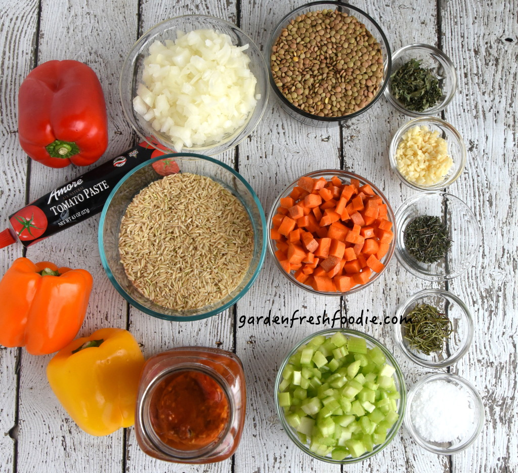 Italian lentil Stuffed Peppers Mise En Place