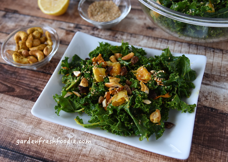 Moroccan Kale Salad Topped With Curried Cashews