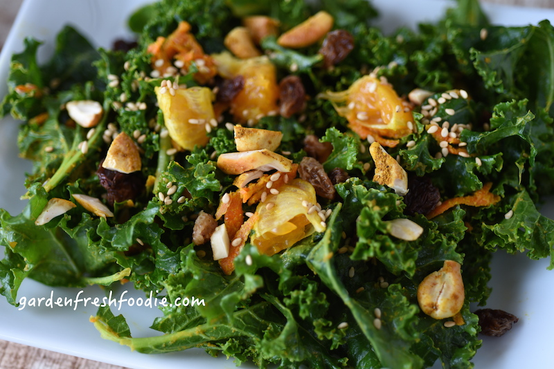 Upclose Moroccan Kale Salad With Curried Cashews