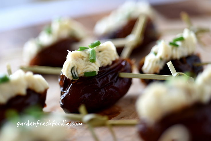 Balsamic Dates Stuffed With Chived Cashew Cream Cheese Up Close