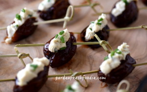 Chived Cashew Cream Cheese Stuffed Inside Balsamic Marinated Dates